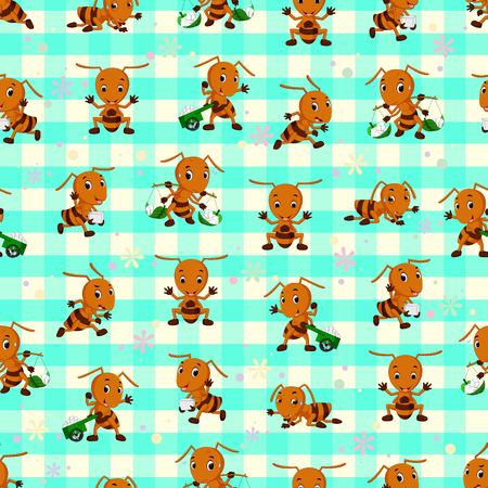 Seamless pattern with ant cartoon Illustration