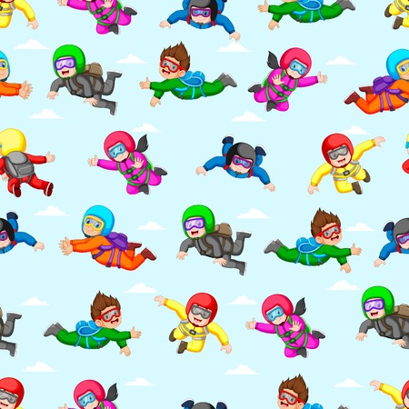 Seamless pattern with professional skydivers in action
