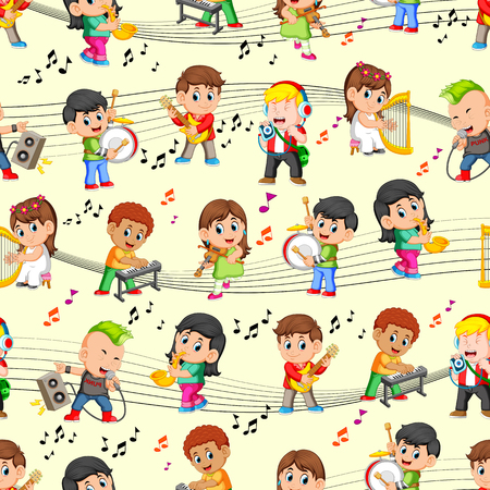 Seamless pattern with happy childrens playing music Stock Illustratie