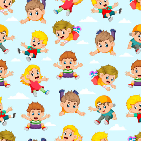 Seamless pattern with children flying with the different posing Stok Fotoğraf - 116415730