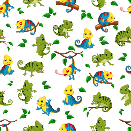 Seamless pattern with collection of the chameleon Stock Photo