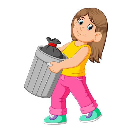 Mujer para tirar basura Ilustración de vector