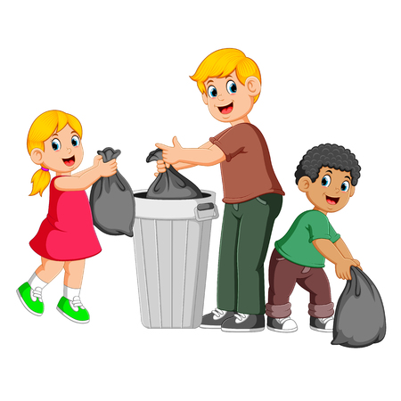 Father and his kids to throw away garbage