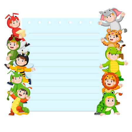 Paper template with many kids wearing animal costume