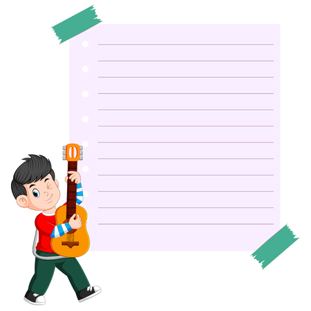 paper template with young man playing guitar Illustration