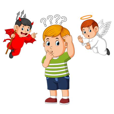 Diable et ange sur l'épaule d'un jeune homme chuchotant la tentation à l'oreille Vecteurs