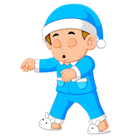 A young man in pajamas sleepwalking