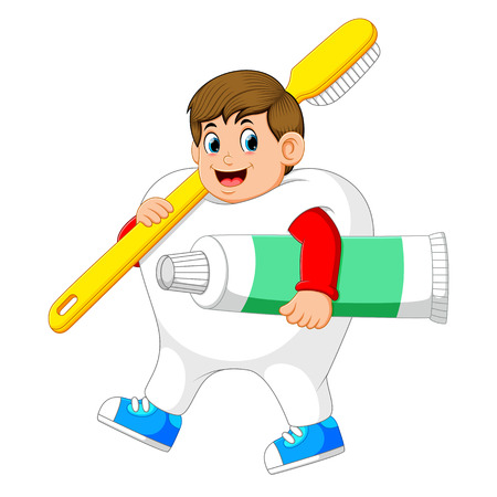 A man walking and wearing tooth costume with carrying big toothbrush and big toothpasta