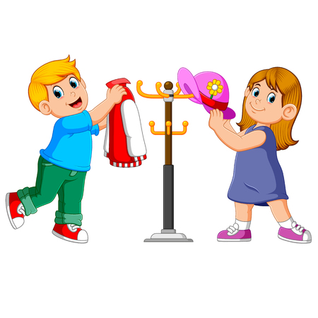 kids hanging jacket and hat on hanger stands 向量圖像