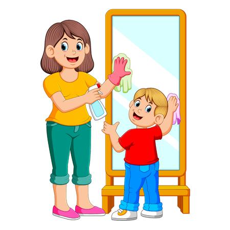 Madre e hijo limpiando el espejo con spray Ilustración de vector
