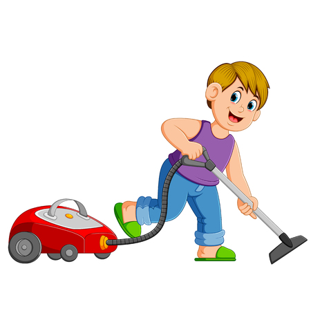 Young Man Cleaning With Vacuum Cleaner