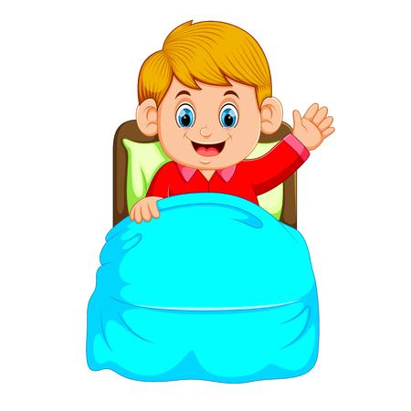 Little boy woke up and smile Illustration