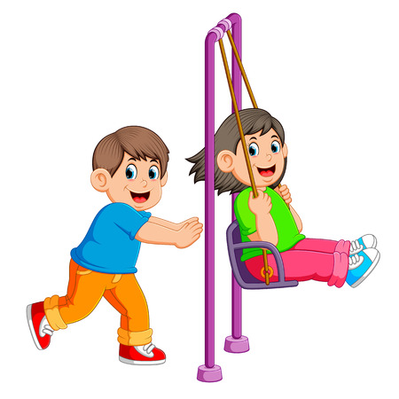brother pushing sister on swing