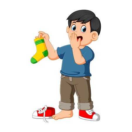 Mann greift Nase mit Fingern, die eine stinkende Socke halten Vektorgrafik