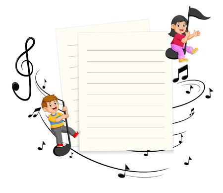 Two Kids riding music notes with paper blank background Stock Photo
