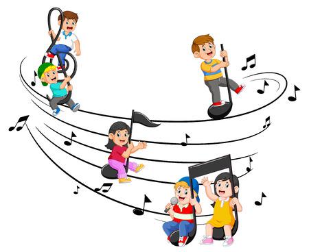 Happy children riding music notes