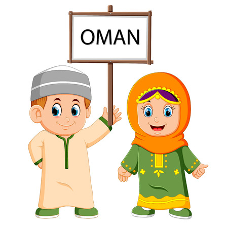 Cartoon oman couple wearing traditional costumes Vectores