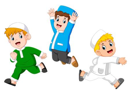 Happy moslem kids Иллюстрация