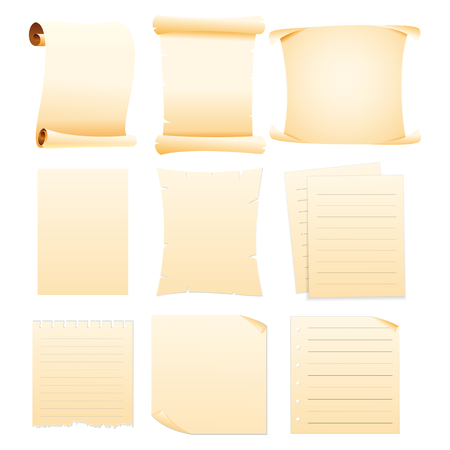 set of Collection blank papers Stock Illustratie