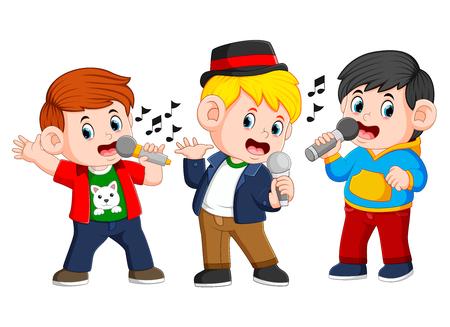 three boy singing together