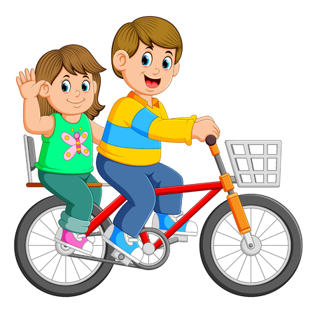 Happy couple riding a bicycle Stock fotó