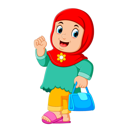 Cartoon Arab women character with hijab carrying