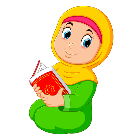 the beautiful girl with yellow veil is holding al quran Illustration