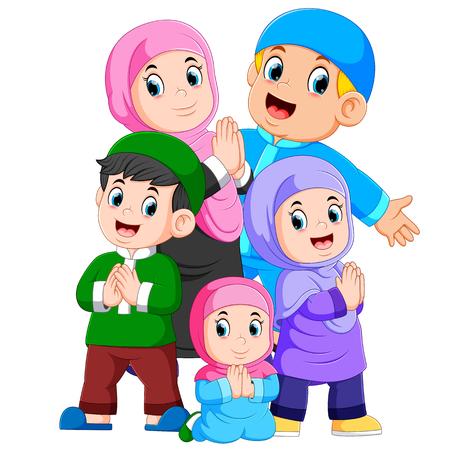 Grupa muzułmańskiej rodziny świętuje razem ied mubarak Ilustracje wektorowe