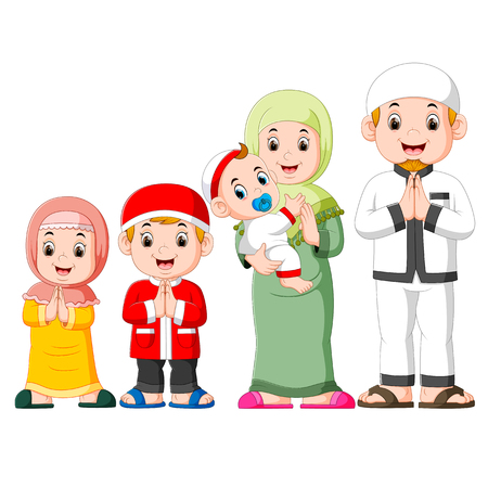 A happy family are celebrating ied mubarak with their three children Vector Illustratie
