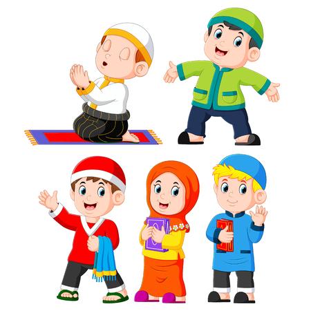 le diverse attività quotidiane che i bambini di solito fanno Vettoriali