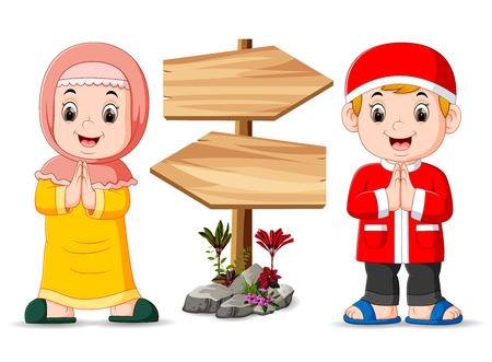 los dos niños musulmanes están parados cerca del cartel de madera Ilustración de vector