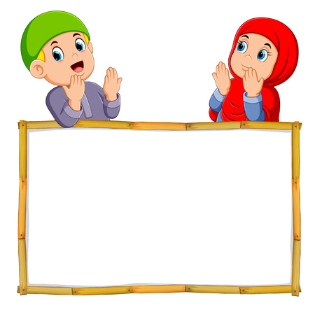 the two children are praying above the wooden blank banner