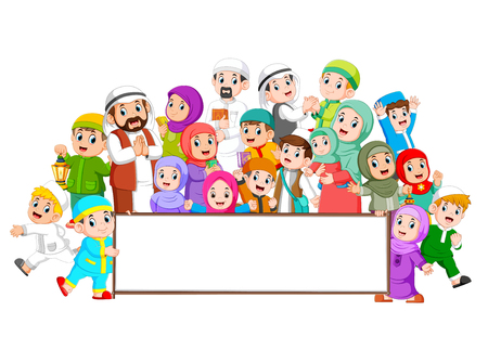 A big muslim family are gathering near the blank board Illustration