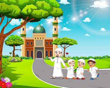 los niños caminan hacia la mezquita con su padre Ilustración de vector