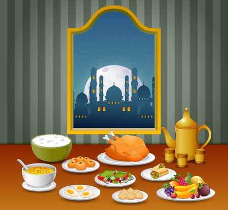 the food with the different variant for the night of eid mubarak Vector Illustration