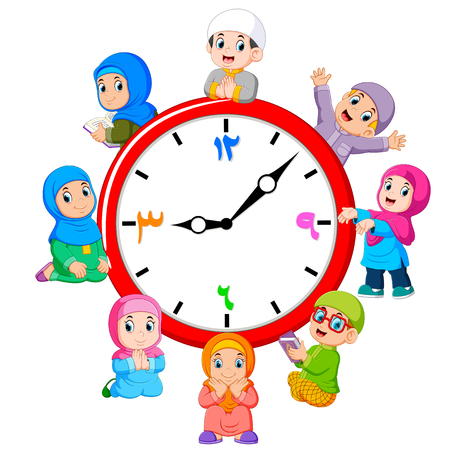 the clock with the children around the it Stock Photo