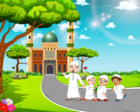 the children are walking to the mosque with their father Stock Photo