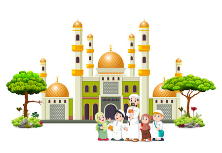 the children with their father are posing in front of the green mosque