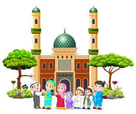 A family are giving apologize to the cleric in front of the mosque Stock Photo