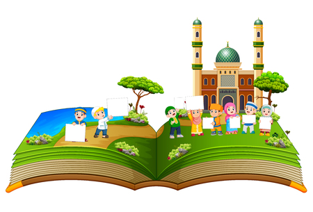 the beautiful story book with the children holding the blank board Stock Photo