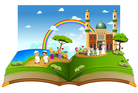 the beautiful story book with the children playing near the mosque on it