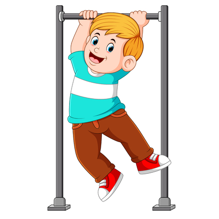 the boy is hanging and holding on the monkey bar Ilustração