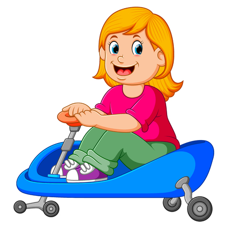 the girl is cycling on the blue tricycle Illustration