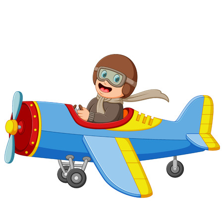 der Junge fliegt ein Flugzeug mit dem glücklichen Gesicht Vektorgrafik