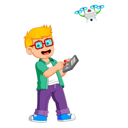 the boy with the glasses is playing with drone Vektoros illusztráció