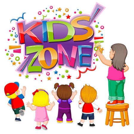the kids zone text with the children creating it