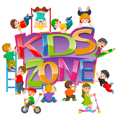 the kids zone text with the children playing around it