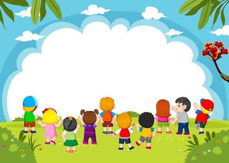 die Kinder spielen zusammen mit dem leeren Banner und der guten Aussicht Vektorgrafik