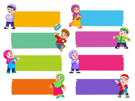 the collection of the blank board with the different color with the Islamic children Illustration
