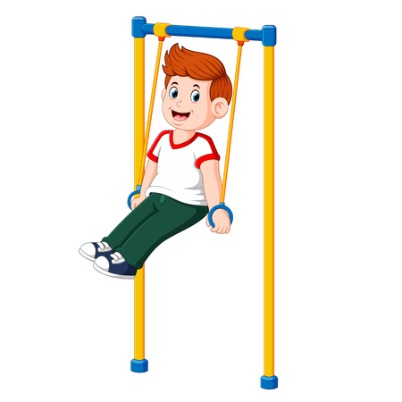 the boy is doing sporty with the hands on the monkey bar